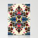 Bright Folk Art Pattern - hot pink, orange, blue & green Stationery Cards