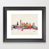Boston City Watercolor Framed Art Print
