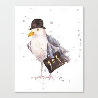 Seagull, seagull watercolor, office humor, funny animals, birds in hats Canvas Print