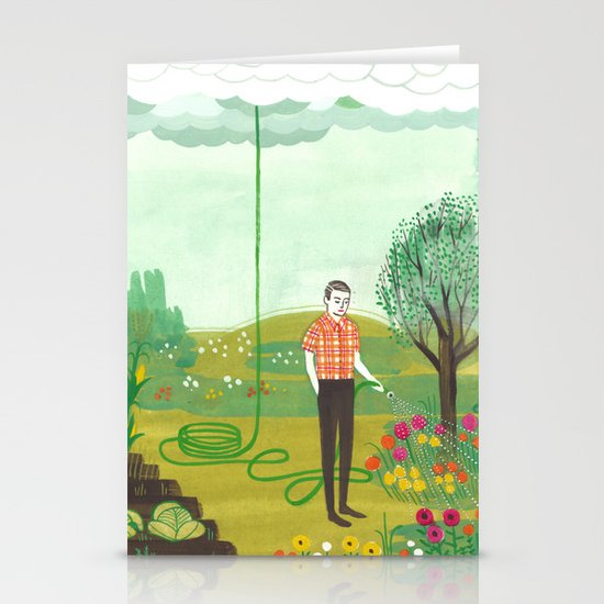 Using Rain Stationery Card