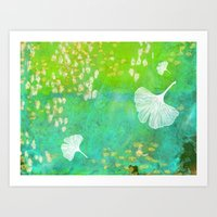 Green Ginkgo Tile Art Print