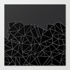 Ab Lines 45 Grey and Black Canvas Print