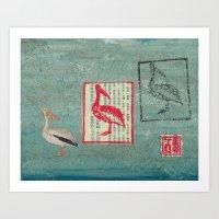 Pelican Collage Art Print