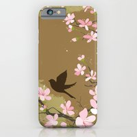 iPhone & iPod Case featuring Cute Birds and Cherry Blossoms by diane555