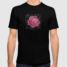 Rose Black Mens Fitted Tee SMALL