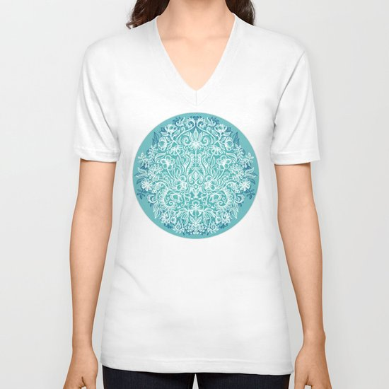 Spring Arrangement - teal & white floral doodle V-neck T-shirt