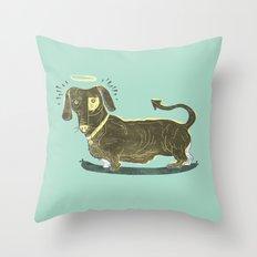 Bad Dog! (The Little Dachshund That Didn't) Throw Pillow