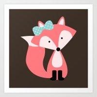 Pink Girl Fox  Art Print
