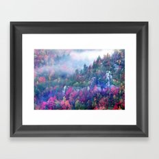 Fog over a colorful fall mountain forest Framed Art Print