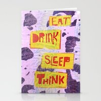 Eat Drink Sleep Think Stationery Cards