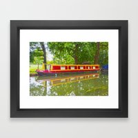 Canal Boat Painted Framed Art Print