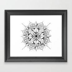 Mandala Art, India, Geometric, Tribal Art, Black and white Framed Art Print