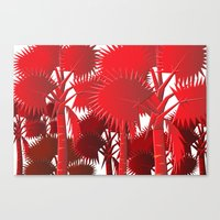 Red Palms. Canvas Print