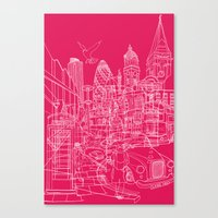 London! Hot Pink Canvas Print