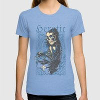 Heretic Death Womens Fitted Tee Tri-Blue SMALL