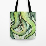 Tote Bag featuring Cthulhu Green Tentacles by Olechka