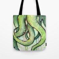 Cthulhu Green Tentacles Tote Bag