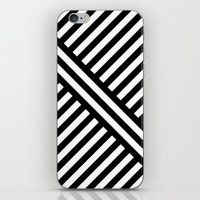 B/W two way diagonal stripes iPhone & iPod Skin