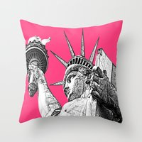 New York Statue Of Liber… Throw Pillow