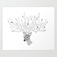 Doris Deer and Friends Art Print