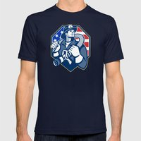 American Fireman Fire-fighter Fire Hose Retro Mens Fitted Tee Navy SMALL