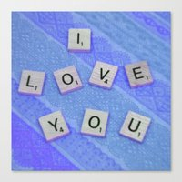 I Love You Darling in Blue Canvas Print