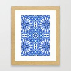 Cobalt Blue & China White Folk Art Pattern Framed Art Print