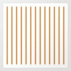 Vertical Lines (Bronze/White) Art Print