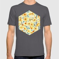 Yellow Jonquils Mens Fitted Tee Asphalt SMALL