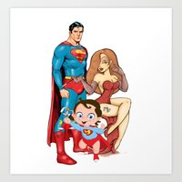 Super Heros Family Art Print