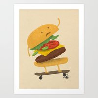 Burger Wipe-out Art Print