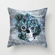 Throw Pillow featuring Blue Grunge Ohm Skull by Kristy Patterson Des…