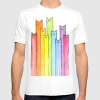Cat Rainbow Watercolor P… Mens Fitted Tee White SMALL