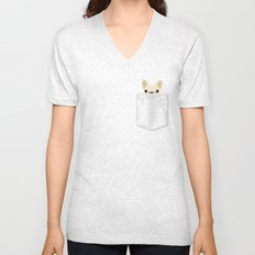 Pocket French Bulldog - Cream Unisex V-Neck