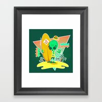Alien Surfer Nineties Pattern Framed Art Print