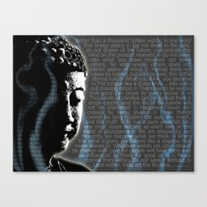 Typographic Fine Art Print Illustration Poster Stencil Graffiti: Buddha quotes and inscens smoke  Canvas Print