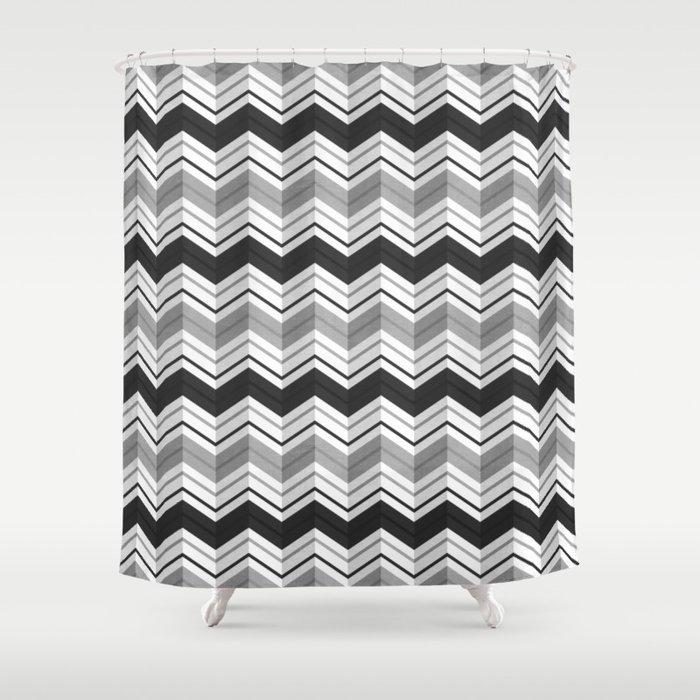 chevron stripes black shower curtain by daisy beatrice