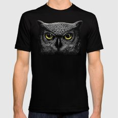 Moon Owl Mens Fitted Tee Black SMALL