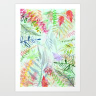 Tropical Garden Pattern Art Print
