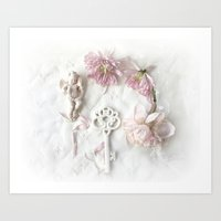 Shabby Cottage Romantic Pink White Peony Skeleton Key Art Art Print