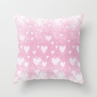 snowing hearts pink Throw Pillow