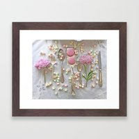 Shabby Chic Peonies Macarons and Vintage Spoon Kitchen Art Framed Art Print