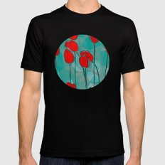 Abstract Tulips Mens Fitted Tee Black SMALL