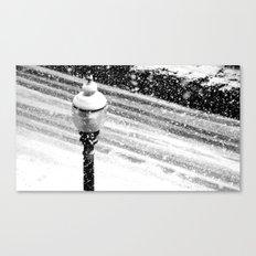 Lightpost in the snow storm. Canvas Print