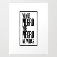 Voy de negro — Letterpress (White) Art Print