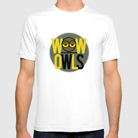 Wow Owls Mens Fitted Tee White SMALL