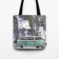 Vintage van. Green Tote Bag