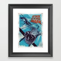 Attack Of The Space Shar… Framed Art Print