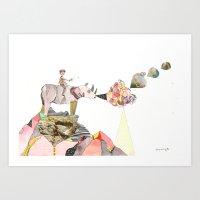 Rhinos Smell Roses Too Art Print