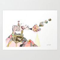 Rhinos Smell Roses Too Art Print